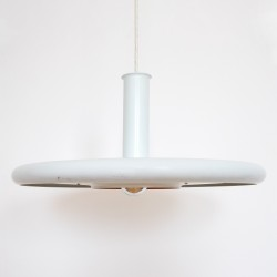 Optima white ufo pendant light by Hans Due for Fog & Mørup, early 1970s