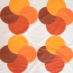 Semi-translucent curtain with bold geometric design in orange, 1970s Danish
