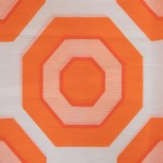 Semi-translucent curtain with orange octagons design, 1960s/70s Danish