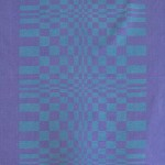Purple/blue psychedelic op-art warping chequerboard textile 1960s