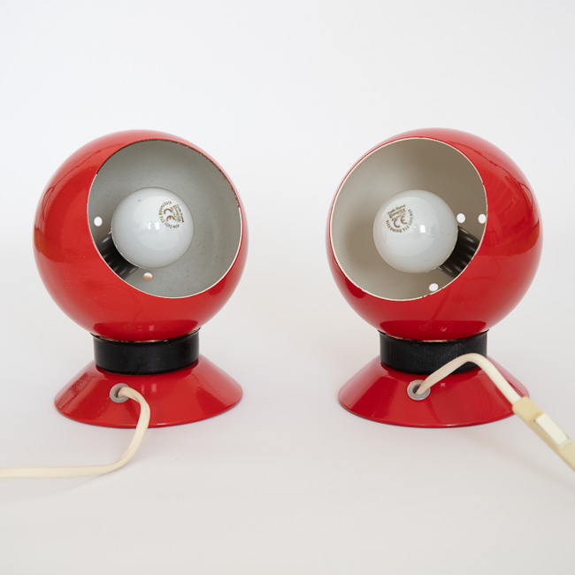 Red Ny-Mag ball lamp pair by Abo Randers of Denmark, 1960s