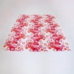 Semi-translucent curtain with red bubbles design, 1960s/70s Danish