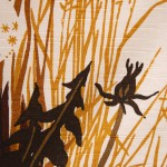 Swedish midcentury textile with reeds and bulrushes design in earth colours