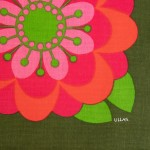 Signed Ulla Scheuer art print tablecloth made in Sweden 1960s or 1970s