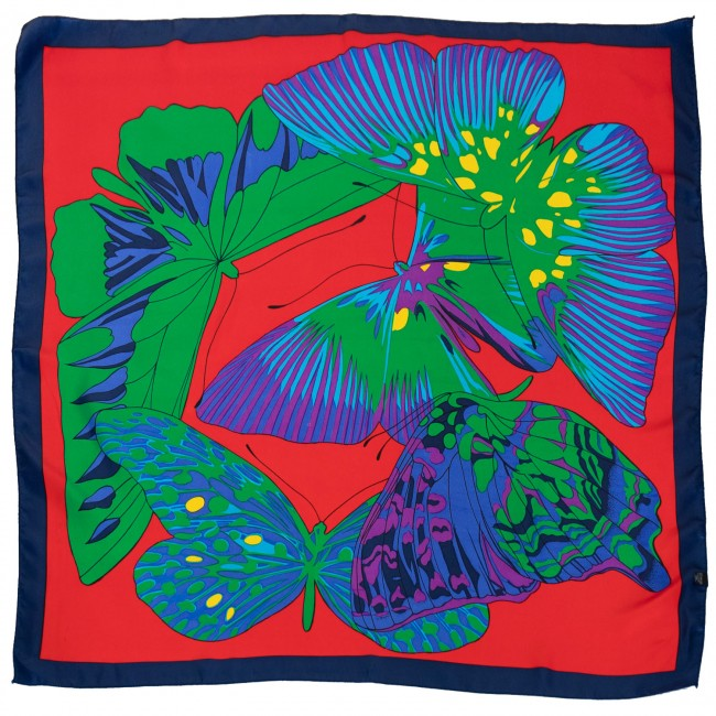 Vintage headscarf with psychedelic butterflies design, 1980s