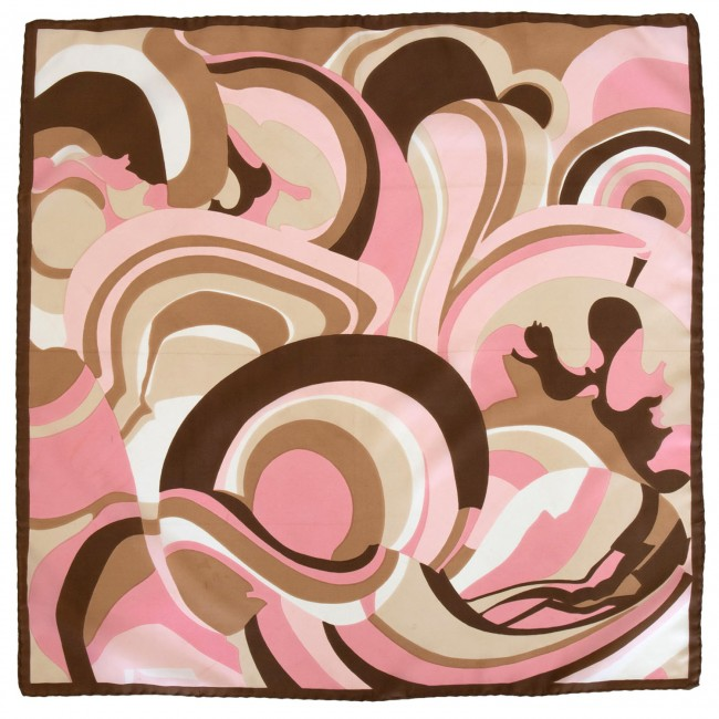 Vintage headscarf with psychedelic design in pinks and browns, 1960s