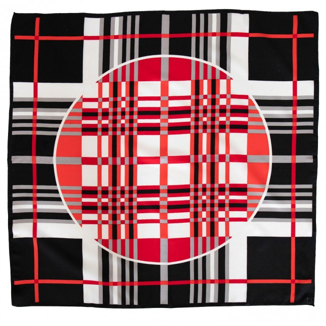 Vintage headscarf with geometric design in reds and neutrals, 1970s
