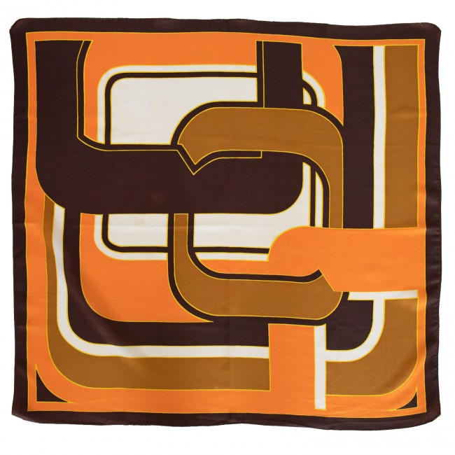 Vintage headscarf with links design in orange and brown, 1960s