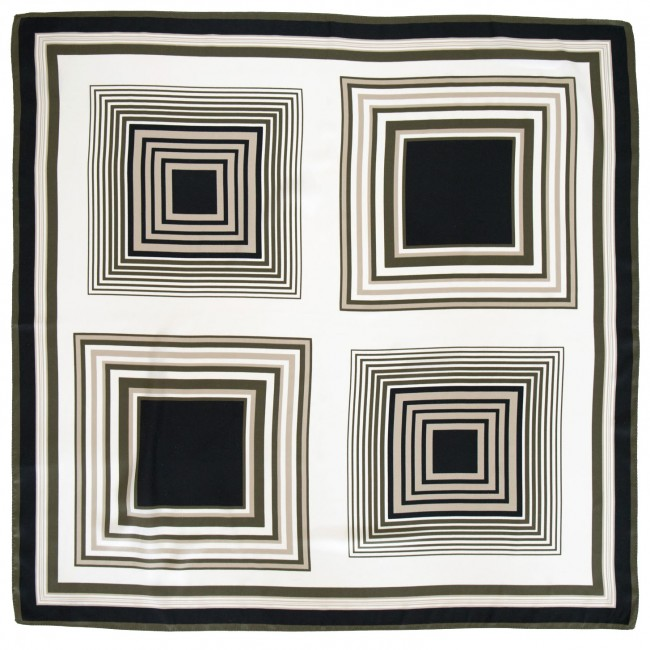 Vintage headscarf with concentric squares design in neutral colours, 1970s
