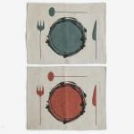 Danish midcentury modern art print silkscreen tablemats