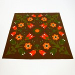 Finlayson of Finland vintage vivid flower design square tablecloth 1970s