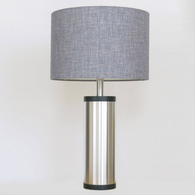 Regent spun aluminium and ebonised wood table lamp by Jo Hammerborg