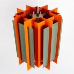 Danish art light Octagon by Lyfa in orange and grey 1960s