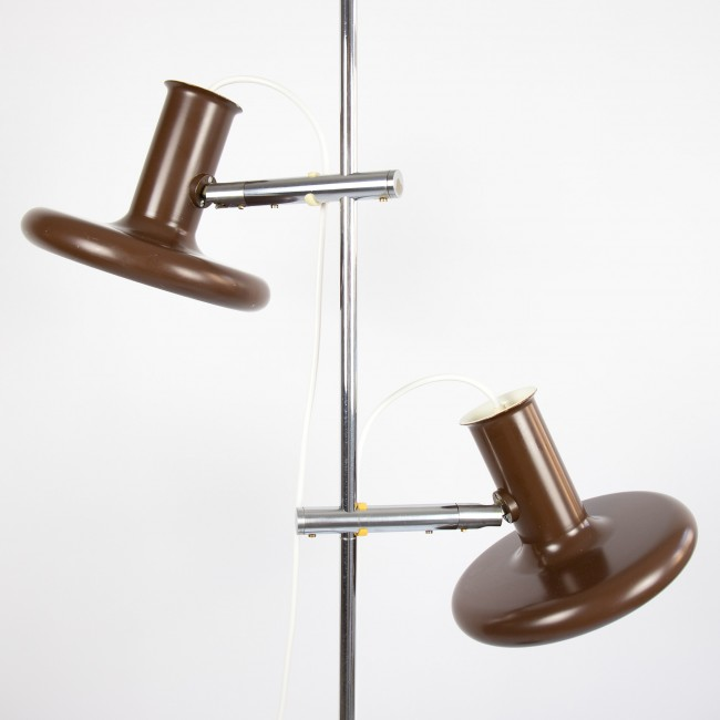 Optima brown double floor lamp by Hans Due for Fog & Mørup, early 70s