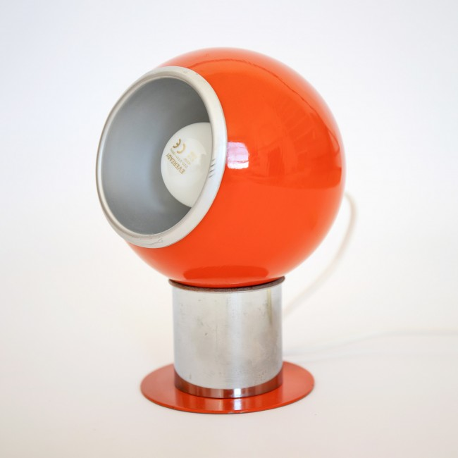 Orange and chrome ball lamp made in Italy 1970s