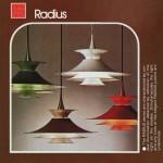 Orange Radius pendant light designed by Erik Balslev for Fog & Mørup