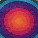Verner Panton Mira-X Set Circle tablecloth and placemats in rainbow colours 1970s