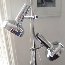 Bentler of Denmark twin-head chrome floor lamp