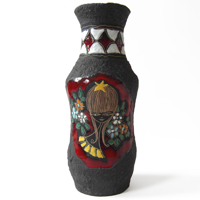 Large Italian lava vase with 50s/60s girl motif