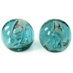 Signed hand-blown Danish art glass spheres