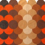 Single vintage curtain with retro pop circles design