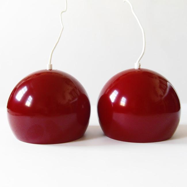 Dark Red Salt Lamps : Dark red vintage Danish ball pendant light pair