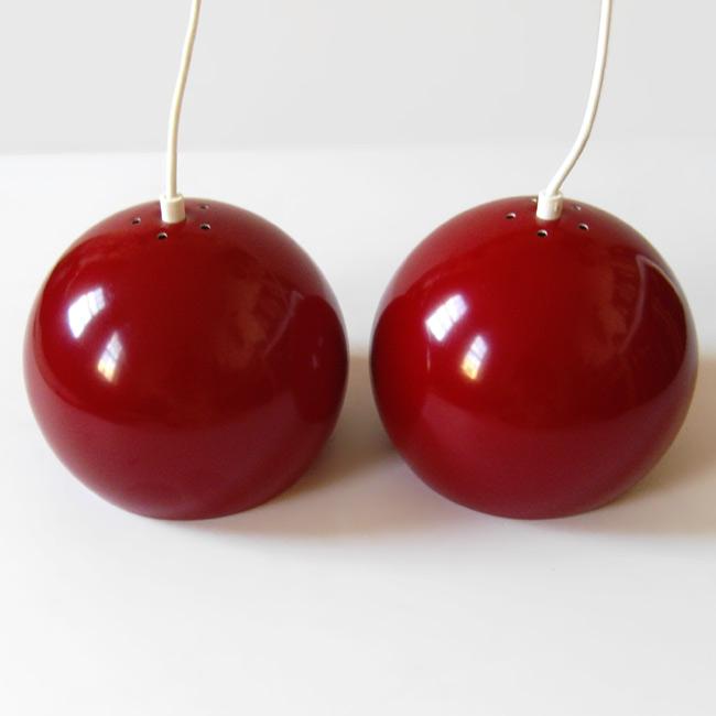 Dark red vintage Danish ball pendant light pair