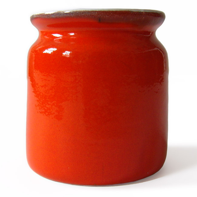 Dumpy orange ceramic jar vintage 1960s/70s