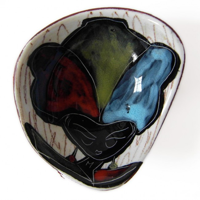 Small ceramic dish with 50s/60s girl in red-yellow-blue