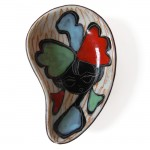 Small ceramic dish with 50s/60s girl in red-green-blue
