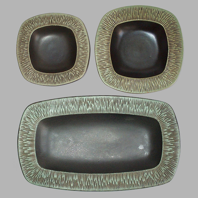 Danish midcentury modern ceramic dish trio