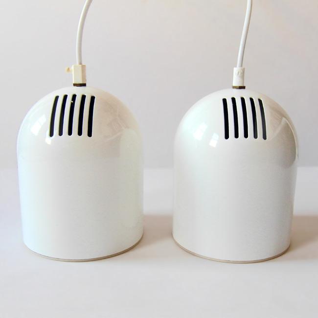 Installux white metal dome pendant light pair
