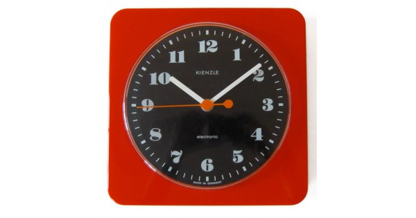 1960s 1970s vintage retro red plastic kienzle wall clock for Kienzle wall clock parts
