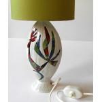 Italian ceramic lamp with scraffito cockerel motif