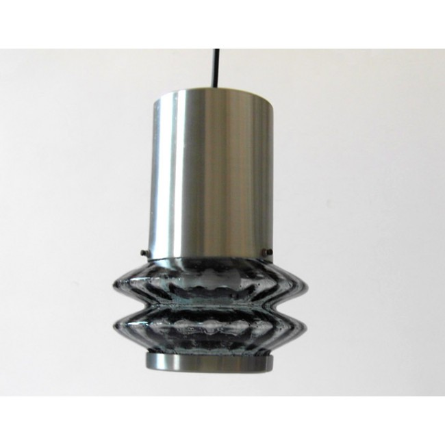 Pressed glass and brushed aluminium pendant light