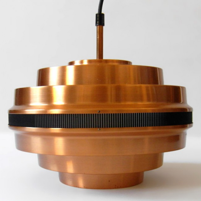 Copper pendant light with Aalto-like slatted band