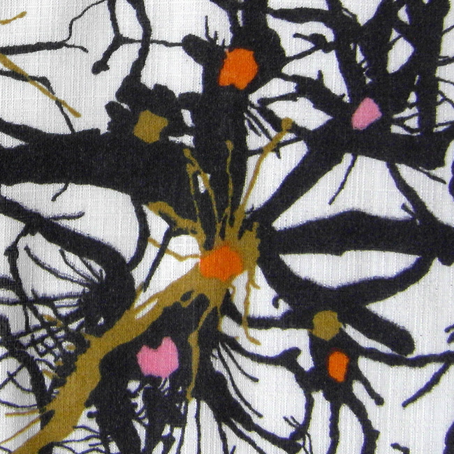 Vintage curtain with design like spidery neurons