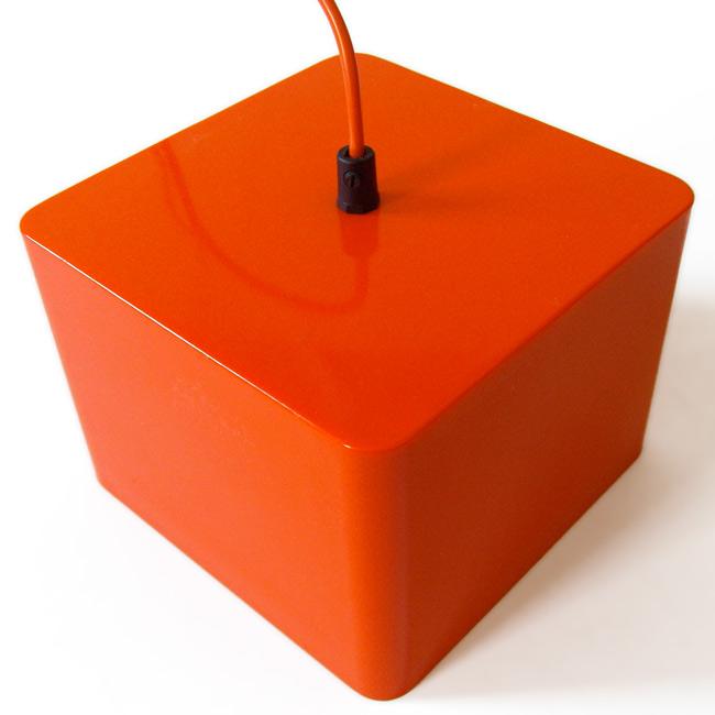 Classic 1960s retro orange plastic cube pendant light
