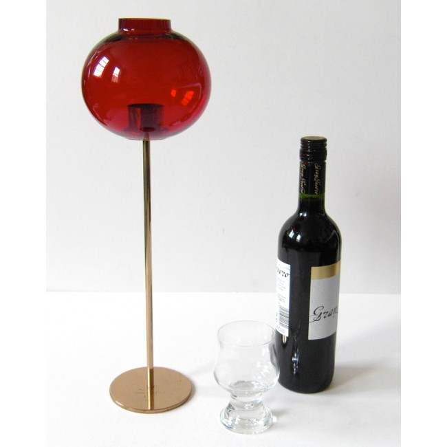 Ruby glass candle lamp by Hans-Agne Jakobsson