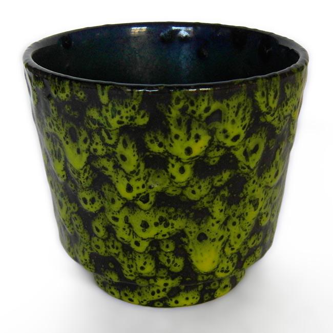 Vintage planter with green-yellow fat lava drip glaze