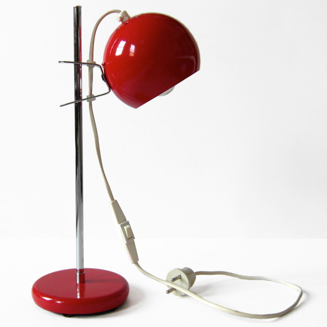 Red bubble retro vintage Danish table lamp