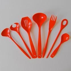 Red vintage Rosti melamine utensils set 1960s/70s