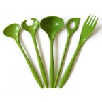 Green vintage Rosti melamine kitchen utensils