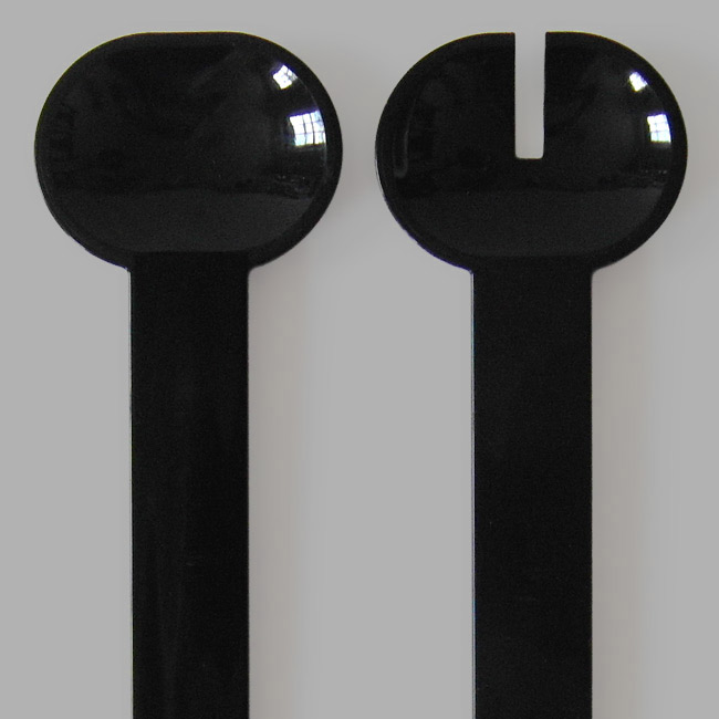 Black plastic retro salad servers made in Finland