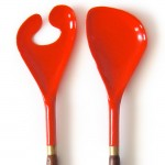 Teak and orange plastic ducks-foot salad servers