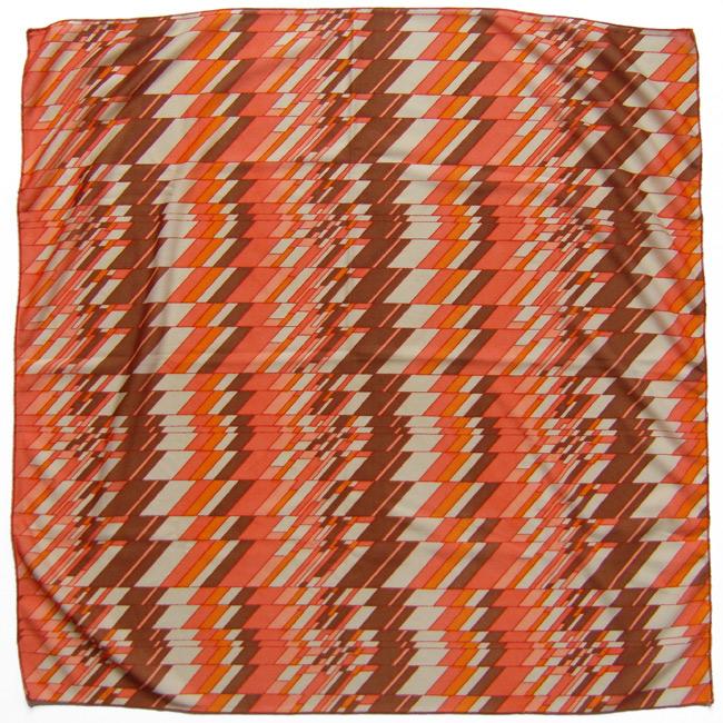Vintage headscarf with orange op-art zigzag design