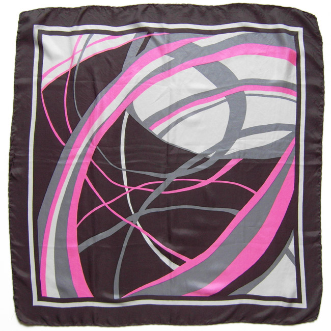 Vintage headscarf with pink and grey arcs design