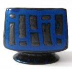 Strehla vintage fat lava dumpy blue cube vase