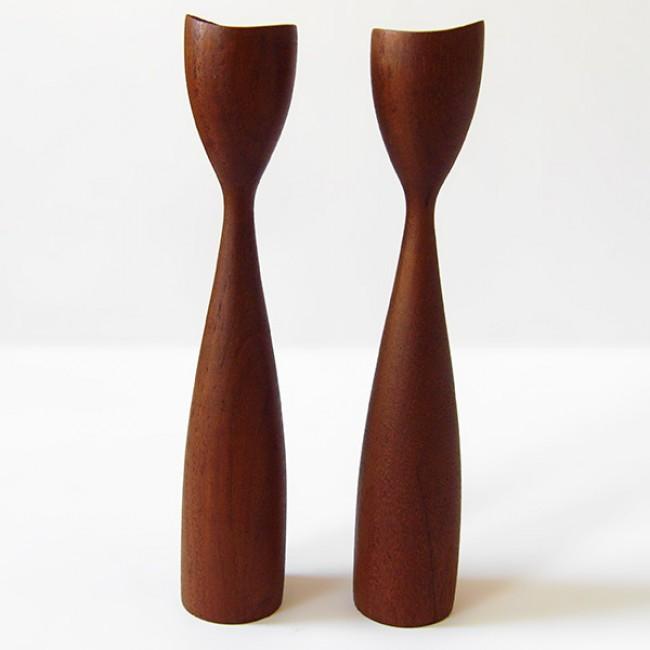 Midcentury Danish modern teak candlesticks 50 s