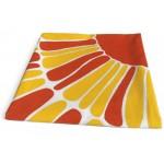 Vintage orange and yellow sunburst daisy textile